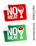 No meat stickers set. - stock vector