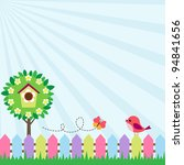 background with bird and flying ... | Shutterstock .eps vector #94841656