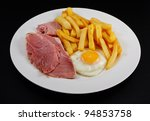 Close Up Of Ham  Egg And Chips...