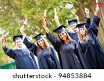 happy group of students with... | Shutterstock . vector #94853884