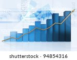 3d business chart showing growth - isolated over a blue background - stock photo