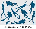 Set Silhouette Of Diver And...