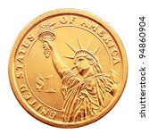 golden one dollar coin ...   Shutterstock . vector #94860904