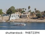 """A Typical view of the riverside of the river """"Nil"""" in """"Assuan"""" in Egypt - stock photo"""