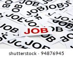 """Job offer. Job interview. Printed paper notes with the word """"Job"""" in black ink and one in red. - stock photo"""
