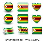 the zimbabwe flag   set of... | Shutterstock . vector #94878292