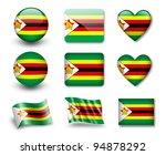 the zimbabwe flag   set of... | Shutterstock . vector #94878292