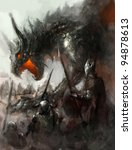 Knights Hunting Dragon On Field