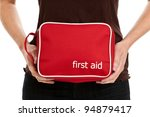 hands holding a first aid kit | Shutterstock . vector #94879417