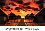 tropical resort at sunset   Shutterstock . vector #94884133