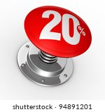one button with number 20 and percent symbol (3d render) - stock photo