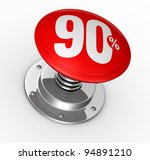 one button with number 90 and percent symbol (3d render) - stock photo