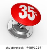 one button with number 35 and percent symbol (3d render) - stock photo