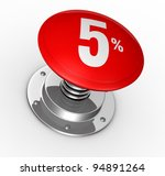 one button with number 5 and percent symbol (3d render) - stock photo