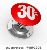 one button with number 30 and percent symbol (3d render) - stock photo