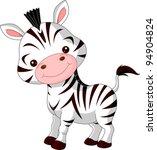 Stock vector fun zoo illustration of cute zebra 94904824
