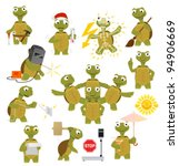 cartoon turtle in various poses | Shutterstock .eps vector #94906669