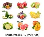 Set Of Exotic Fruits Isolated...