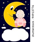 a little baby sitting on the... | Shutterstock .eps vector #94913776