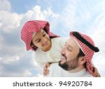Arabic father and little kid - stock photo
