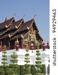 Wooden Traditional architecture in Chiangmai - stock photo