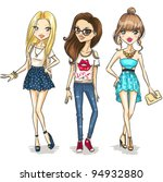 fashion girls | Shutterstock .eps vector #94932880