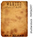 antique page   wanted dead or... | Shutterstock . vector #94936597