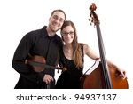 young musicians with bass and violin. Isolated on white background - stock photo