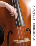 closeup on a female hand doing pizzicato on a bass - stock photo