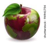 Red and green apple with world globe pattern on skin - stock photo