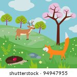 funny cartoon animals in the... | Shutterstock .eps vector #94947955