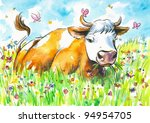 Cow On A Field Watercolor...