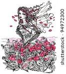 ink illustration of a female... | Shutterstock . vector #94972300