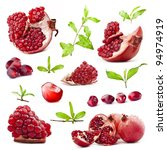 collection of red pomegranate... | Shutterstock . vector #94974919