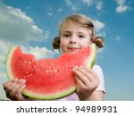 Lovely girl with watermelon - stock photo