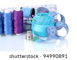 bright blue yarn  fabric and... | Shutterstock . vector #94990891