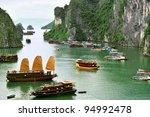 tourist junks and floating... | Shutterstock . vector #94992478