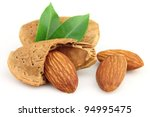 Almonds with leaves - stock photo