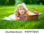 happy smiling child eating... | Shutterstock . vector #94997845