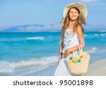 adorable beautiful girl wearing ... | Shutterstock . vector #95001898