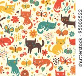 Cartoon seamless pattern with cute catsny cats - stock vector