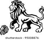 Lion Mascot Profile on White - stock vector