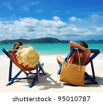 couple on a tropical beach | Shutterstock . vector #95010787