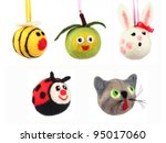 Stock photo hand made animals from wool 95017060
