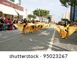 LIMASSOL, CYPRUS - MARCH 6: Unidentified participants in Egyptian costumes in Cyprus carnival parade on March 6, 2011 in Limassol, Cyprus, established in 16th century, influenced by Venetians. - stock photo