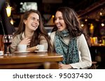 two beautiful girls laughing in ... | Shutterstock . vector #95037430