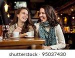 two beautiful girls laughing in ... | Shutterstock . vector #95037430