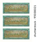 Small photo of Bronze sign plaque for education system: college, classroom, laboratory. Classic brass plaque with text for the doorplate. Metal nameplates for building interior of education system.