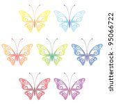 Collection of seven transparent butterflies, vector illustration, eps 10