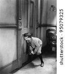 teenage boy peeping through...   Shutterstock . vector #95079325